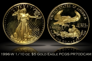 1996-W Proof $5 Gold Eagle 1/10 oz PCGS PR70DCAM