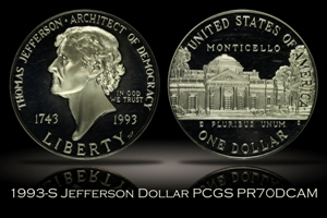 1993-S Proof Jefferson Commemorative Silver Dollar PCGS PR70DCAM