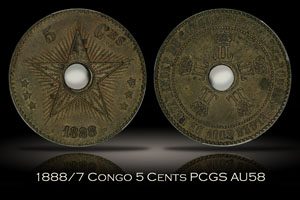 1888/7 Congo Free State 5 Cents PCGS AU58