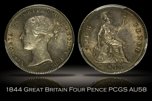 1844 Great Britain Fourpence Groat 4D PCGS AU58