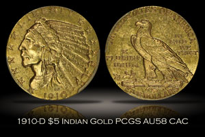 1910-D $5 Indian Head Gold PCGS AU58 CAC