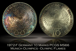 1972-F Germany 10 Marks Munich Olympics Flames PCGS MS66
