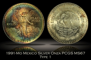 1991-Mo Mexico Type 1 Silver Onza PCGS MS67
