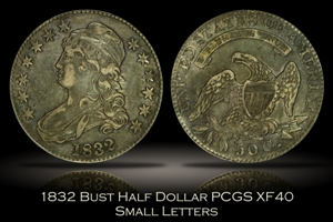 1832 Small Letters Capped Bust Half Dollar PCGS XF40