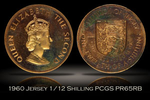 1960 Jersey Proof 1/12 Shilling PCGS PR65RB