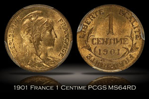 1901 France 1 Centime PCGS MS64RD