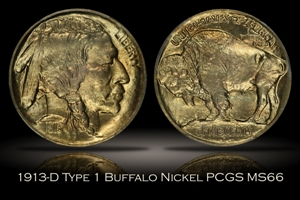 1913-D Type 1 Buffalo Nickel PCGS MS66