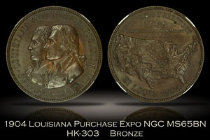 1904 Louisiana Purchase Expo Official Medal HK-303 NGC MS65BN