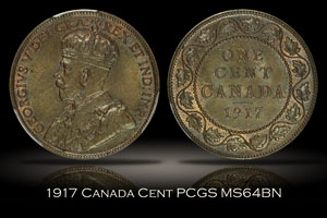 1917 Canada Cent PCGS MS64BN
