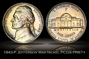 1942-P Proof Type 2 Jefferson War Nickel PCGS PR67+