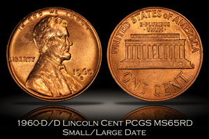 1960-D/D Lincoln Cent PCGS MS65RD Small/Large Date