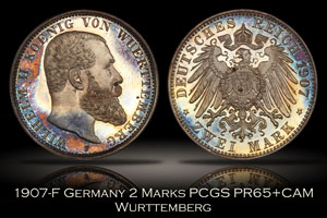 1907-F Germany Wurttemberg Proof 2 Mark PCGS PR65+CAM