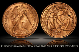 1967 Bahamas New Zealand 2 Cent Mule PCGS MS64RD 30th Ann. Label