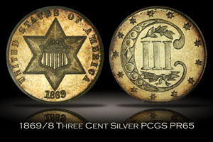 1869/8 Proof Three Cent Silver PCGS PR65