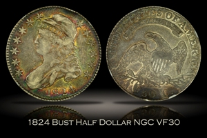 1824 Capped Bust Half Dollar NGC VF30