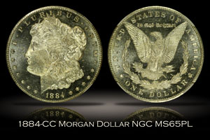 1884-CC Morgan Dollar NGC MS65PL