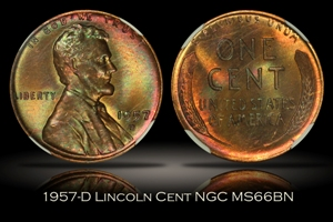 1957-D Lincoln Cent NGC MS66BN
