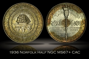 1936 Norfolk Half NGC MS67+ CAC