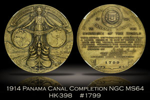 1914 Panama Canal Completion Medal HK-398 NGC MS64