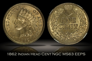 1862 Indian Head Cent NGC MS63 EEPS