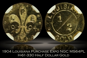 1904 Louisiana Purchase Expo 50c Gold H-61-330 NGC MS64PL