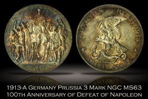 1913-A Germany Prussia 3 Mark Napoleon Defeat NGC MS63