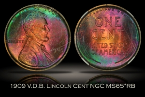 1909 V.D.B. Lincoln Cent NGC MS65*RB