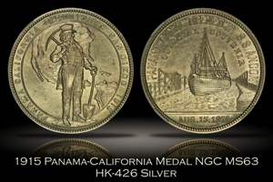 1915 Panama-California Official Medal Silver HK-426 NGC MS63