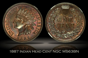 1887 Indian Head Cent NGC MS63BN