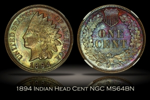 1894 Indian Head Cent NGC MS64BN