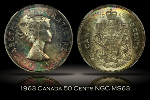 1963 Canada 50 Cents NGC MS63