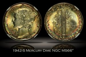 1942-S Mercury Dime NGC MS66*
