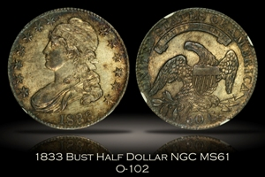 1833 Capped Bust Half Dollar O-102 NGC MS61