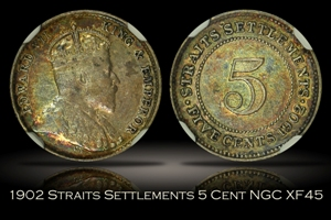 1902 Straits Settlements 5 Cents NGC XF45