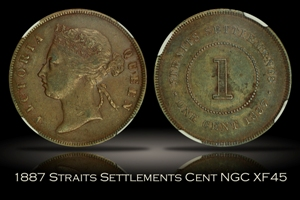1887 Straits Settlements Cent NGC XF45