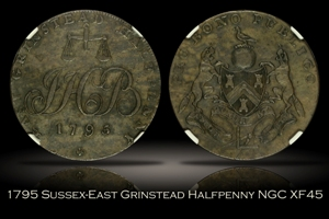 1795 Great Britain Sussex East Grinstead Halfpenny D&H-22 NGC XF45