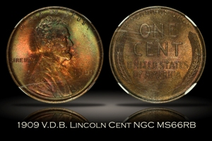 1909 V.D.B. Lincoln Cent NGC MS66RB