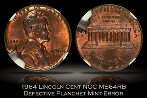 1964 Lincoln Cent Defective Planchet Mint Error NGC MS64RB