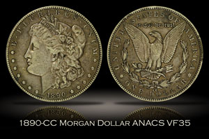 1890-CC Morgan Dollar ANACS VF35