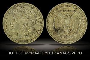 1891-CC Morgan Dollar ANACS VF30