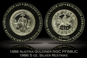 1486 Austria Guldiner NGC PF68UC 1986 5 Ounce Silver Restrike