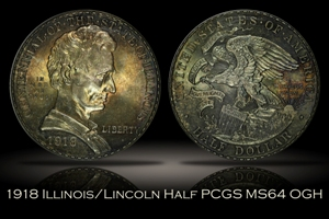 1918 Illinois/Lincoln Half PCGS MS64 OGH
