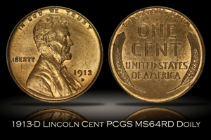1913-D Lincoln Cent PCGS MS64RD OGH DOILY
