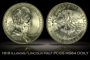 1918 Illinois/Lincoln Half PCGS MS65 DOILY