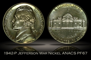 1942-P Type 2 Jefferson Nickel ANACS PF67