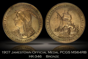 1907 Jamestown Tercentennial Official Medal HK-346 PCGS MS64RB