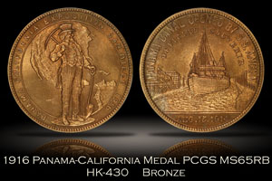 1916 Panama-California Official Medal Bronze HK-430 PCGS MS65RB