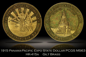 1915 Panama-Pacific Expo CA State Dollar HK-415a PCGS MS63