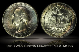 1963 Washington Quarter PCGS MS66