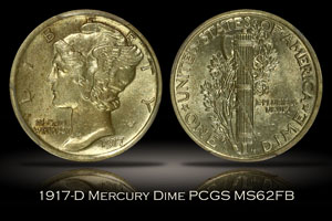 1917-D Mercury Dime PCGS MS62FB